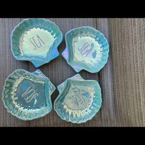 rae dunn 4 sea iridescent plates